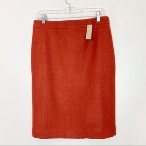 J Crew NWT Burnt Orange Wool Pencil Skirt Size 8